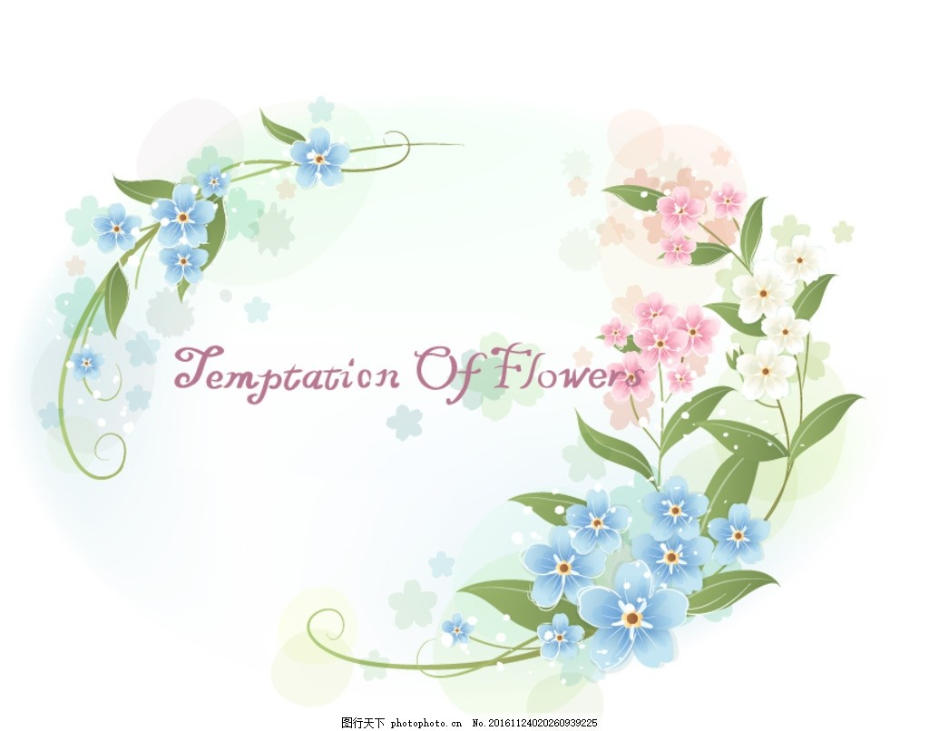 蓝色唯美花朵椭圆边框