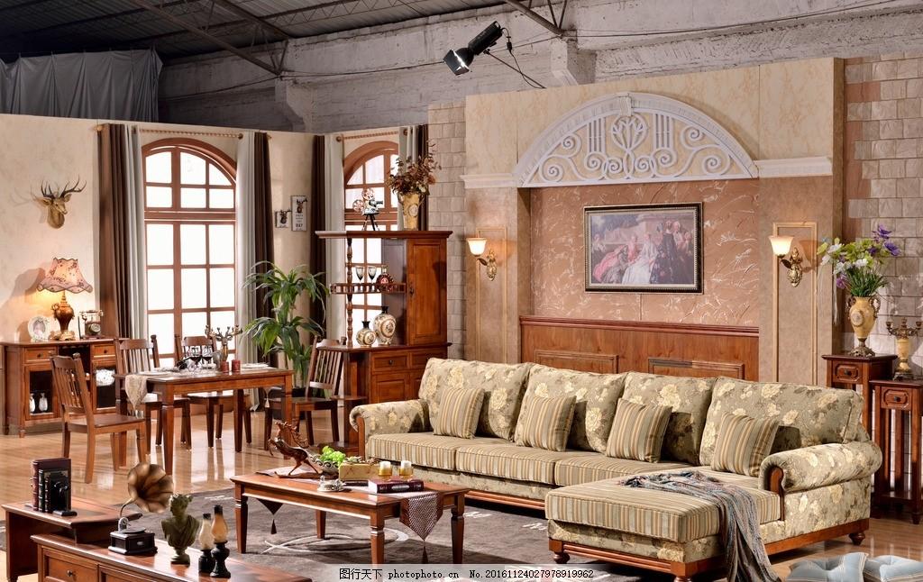 美式家具 乡村 沙发 茶几 电视柜 场景 美式套房图片