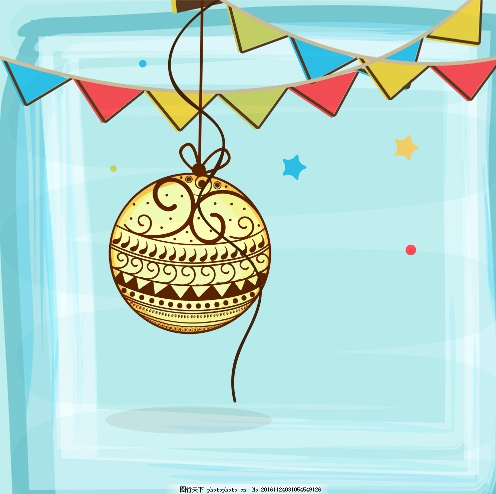 彩旗 圣诞素材 节日矢量素材 彩旗 矢量卡通画 球 矢量花纹 边框底纹