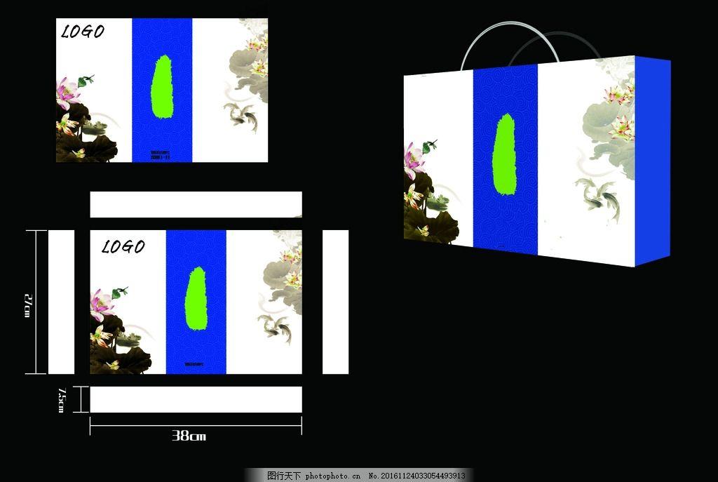 蓝色中国风礼品盒平面展开图 蓝色 中国风 礼品盒 月饼 包装盒 设计