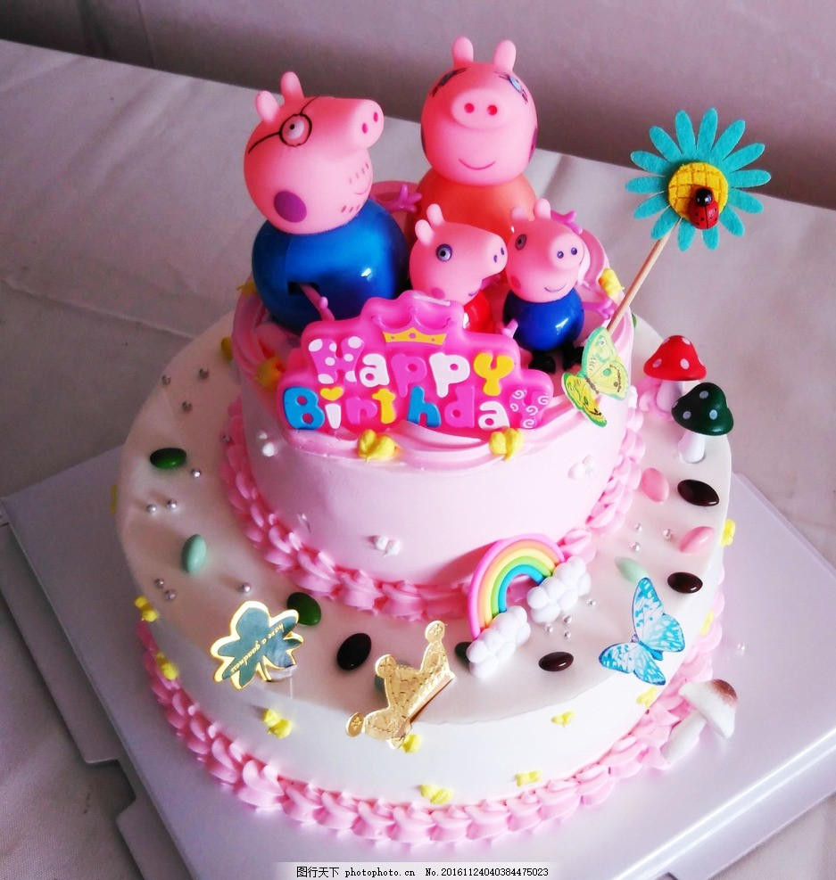 卡通 生日蛋糕 小猪佩琪 儿童生日蛋糕 宝宝蛋糕 摄影 餐饮美食 西餐