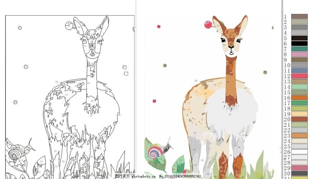 数字油画 数字油画稿 动物油画 梅花鹿 油画素材 文化艺术 绘画书法