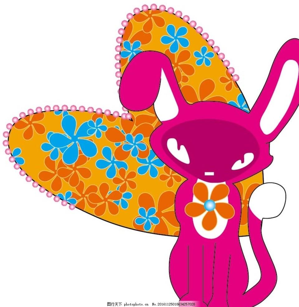 兔子图案素材 卡通背景 梦幻背景 儿童卡通 抽象花纹 唯美花纹 卡通
