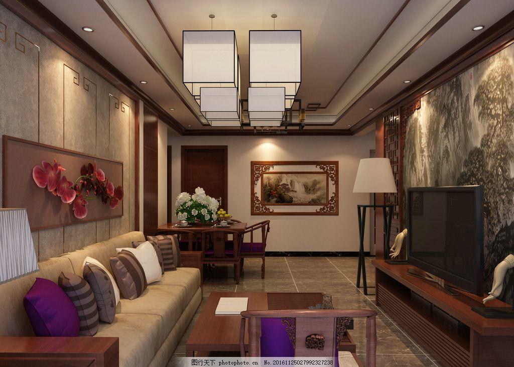 中式客厅效果图        3d效果图 室内设计 设计 环境设计 72dpi tiff
