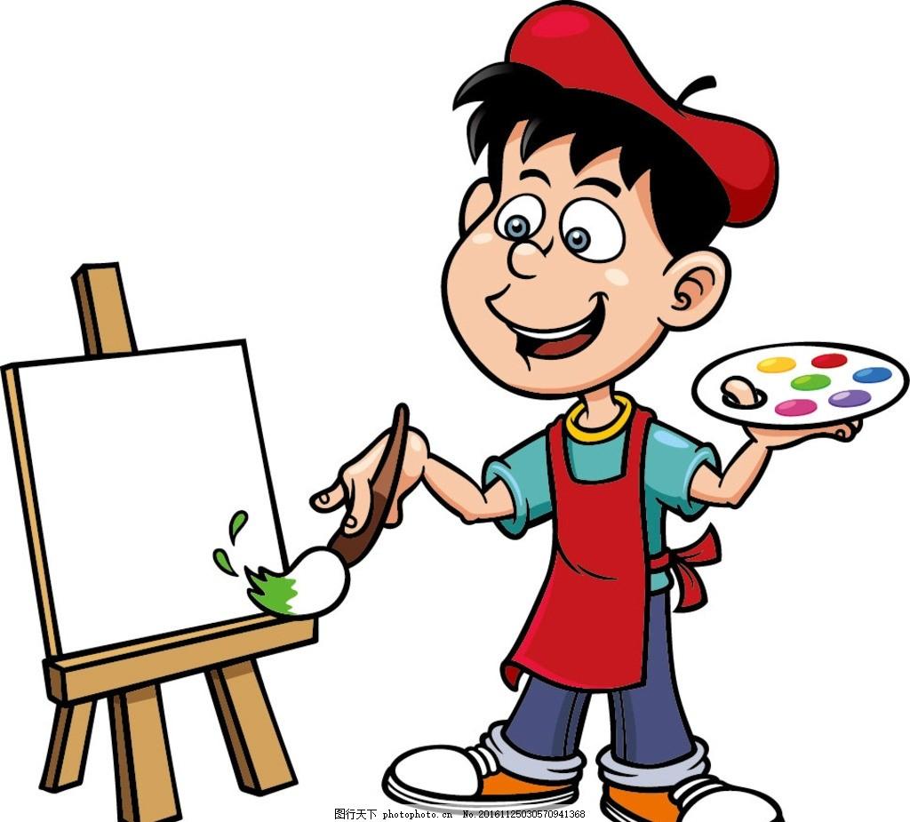 绘画的卡通人 矢量图 卡通人 卡通 绘画 矢量卡通 卡通人物 设计 广告