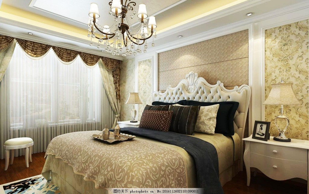 卧室效果图 床头背景墙 欧式床 卧室吊灯 设计 3d设计 3d设计