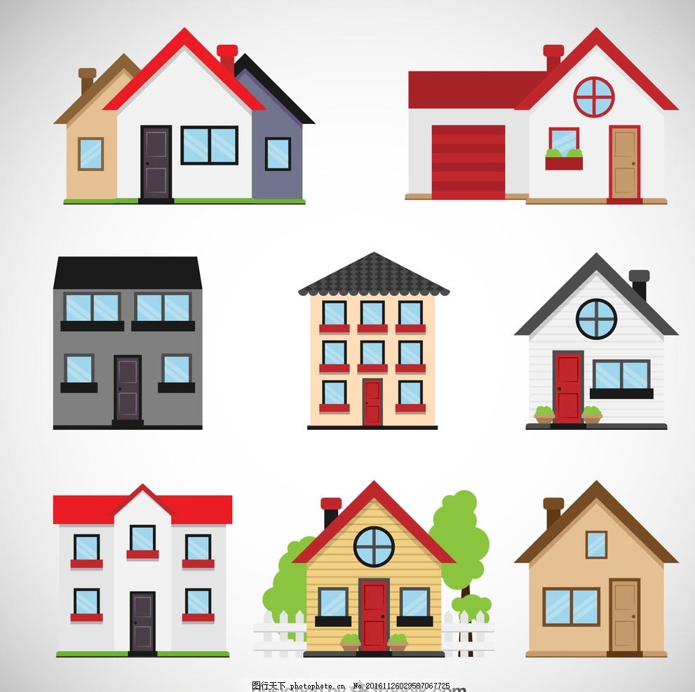 家园 家 温馨 房子剪影 城堡 ch房子矢量图 房子logo 城市 彩色房子
