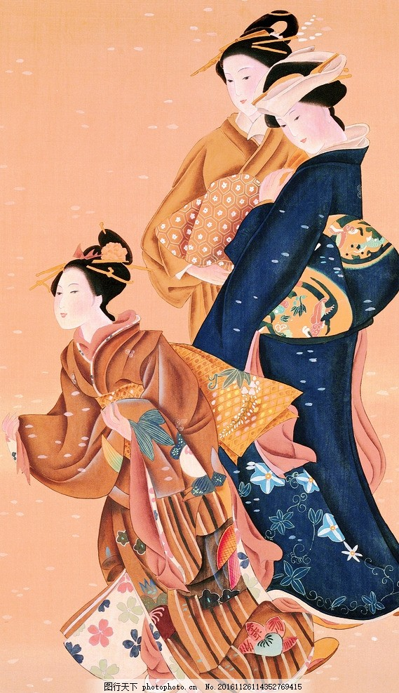 日本古代和服仕女艺伎 日式 美女 女人 妇女 浮世绘 仕女图 三