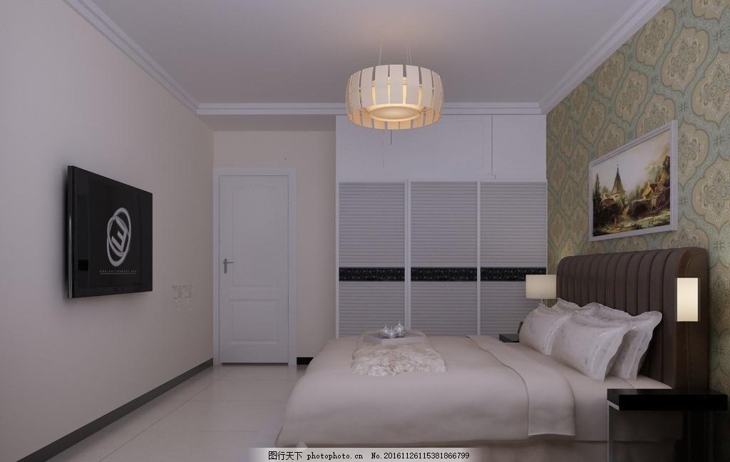 卧室现代风格 三居室 白色简装 后现代风格 简约风格 环境设计