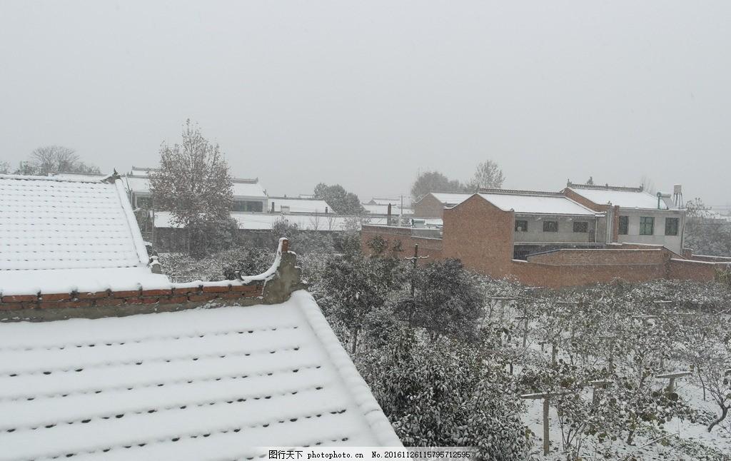 窗外雪景 冬季 雪景 下雪啦 户外 美景 房屋 建筑 乡村风采 摄影 自然