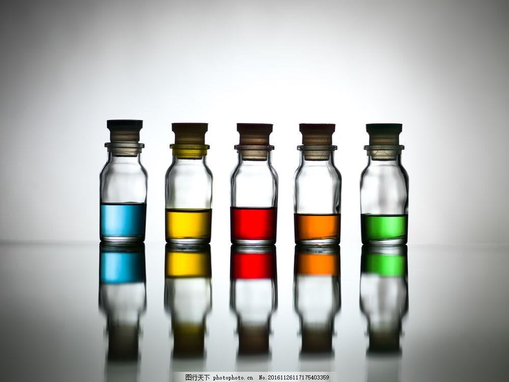 彩色液体的实验瓶子图片
