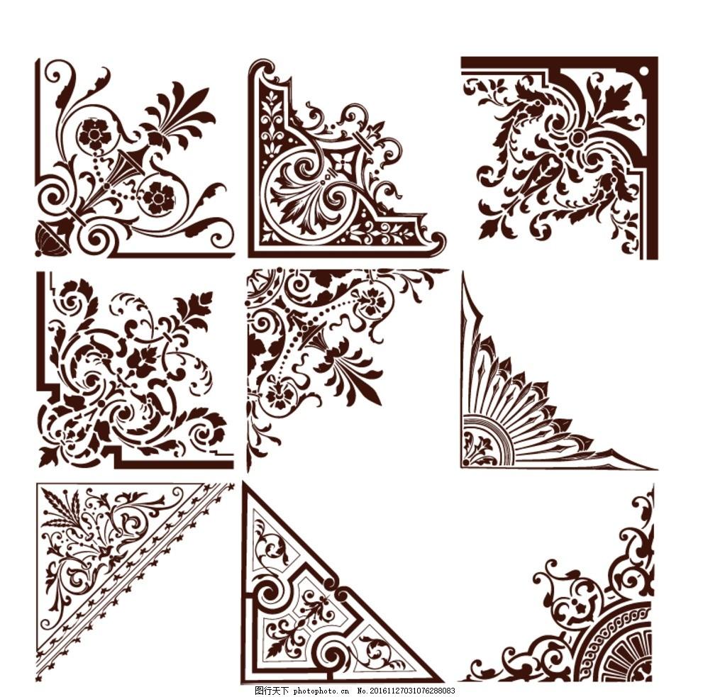 中式 圆边框 木框 矢量 方形边框 雕花 角花 中式纹路 文化牌 素材