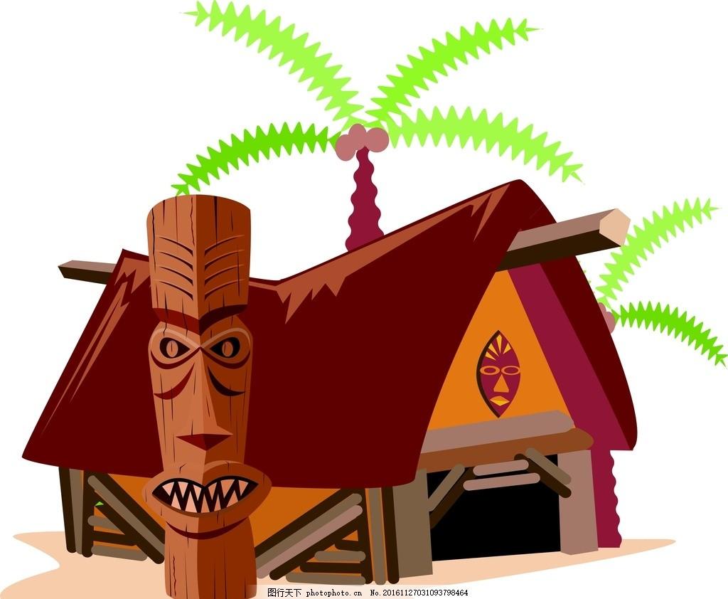 卡通房子 卡通 房子 搞怪 海边房子 椰子树 矢量素材 设计 广告设计
