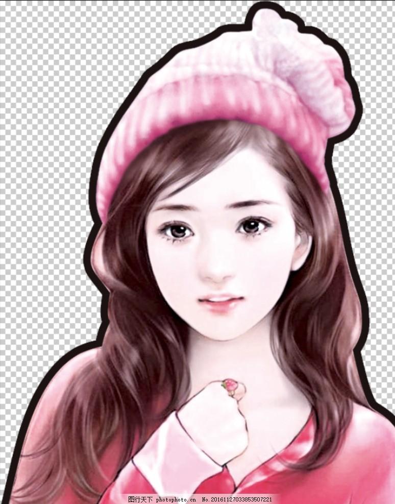 手绘红衣美女 帽子 人物 动漫 分层素材 图片素材