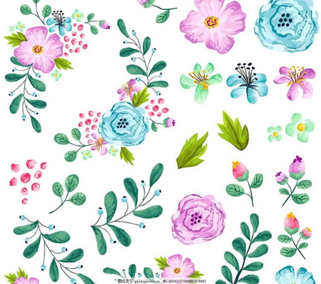 手绘植物 鲜花 牡丹 兰花 雪莲花 月季 牵牛花 植物成分 荷花 水仙花
