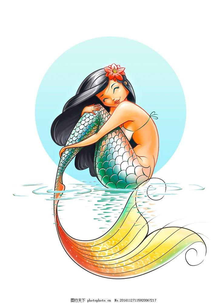 彩色卡通美人鱼图片
