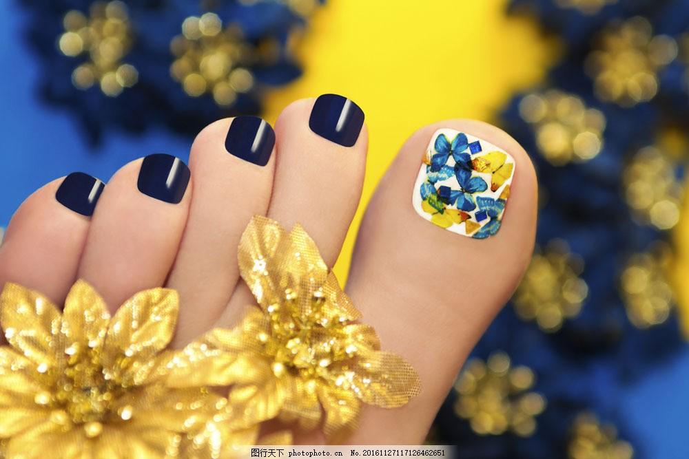 美丽的脚指美容图片素材 漂亮美甲 指甲 指甲美容 脚指 脚 爱美女性