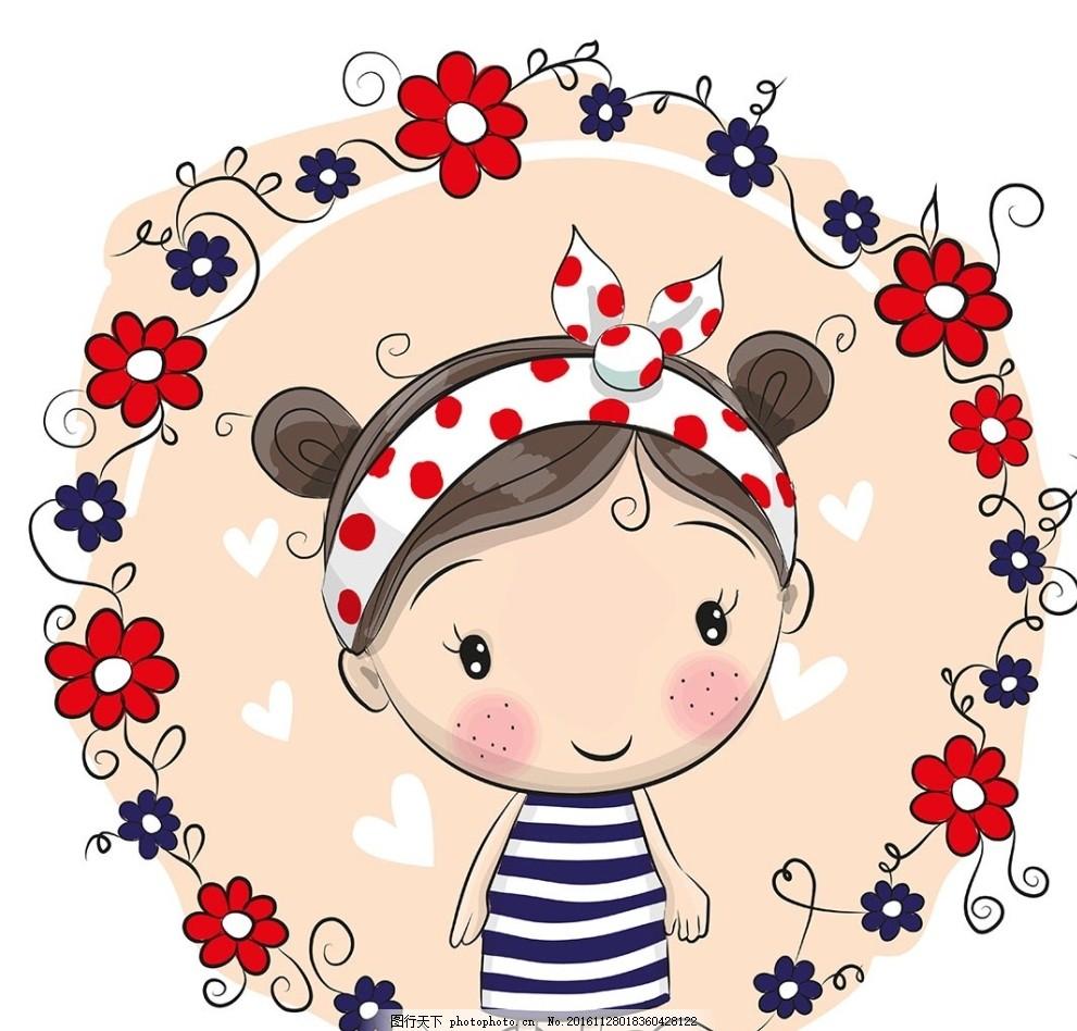 小女孩矢量 矢量小女孩 矢量素材 手绘人物 传统的 动漫动画