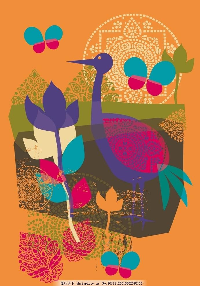 卡通抽象花朵动物素材