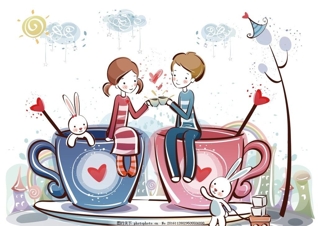 卡通情侣 情人节情侣 浪漫 情人节素材 手绘 情侣素材 卡通男女