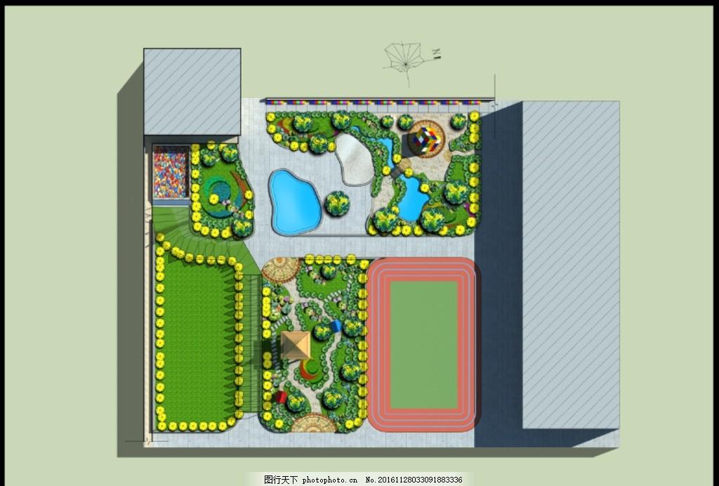 幼儿园彩平图 规划 学校 植物 源文件 景观 铺砖 分层图片