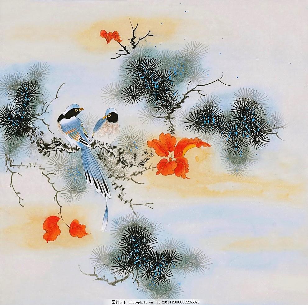 工笔鸟 国画 写意画 喜鹊 松树 枫叶 花鸟 图片素材