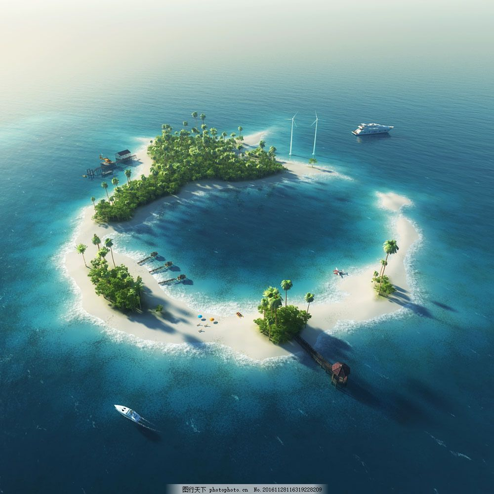 鸟瞰岛屿风景图片