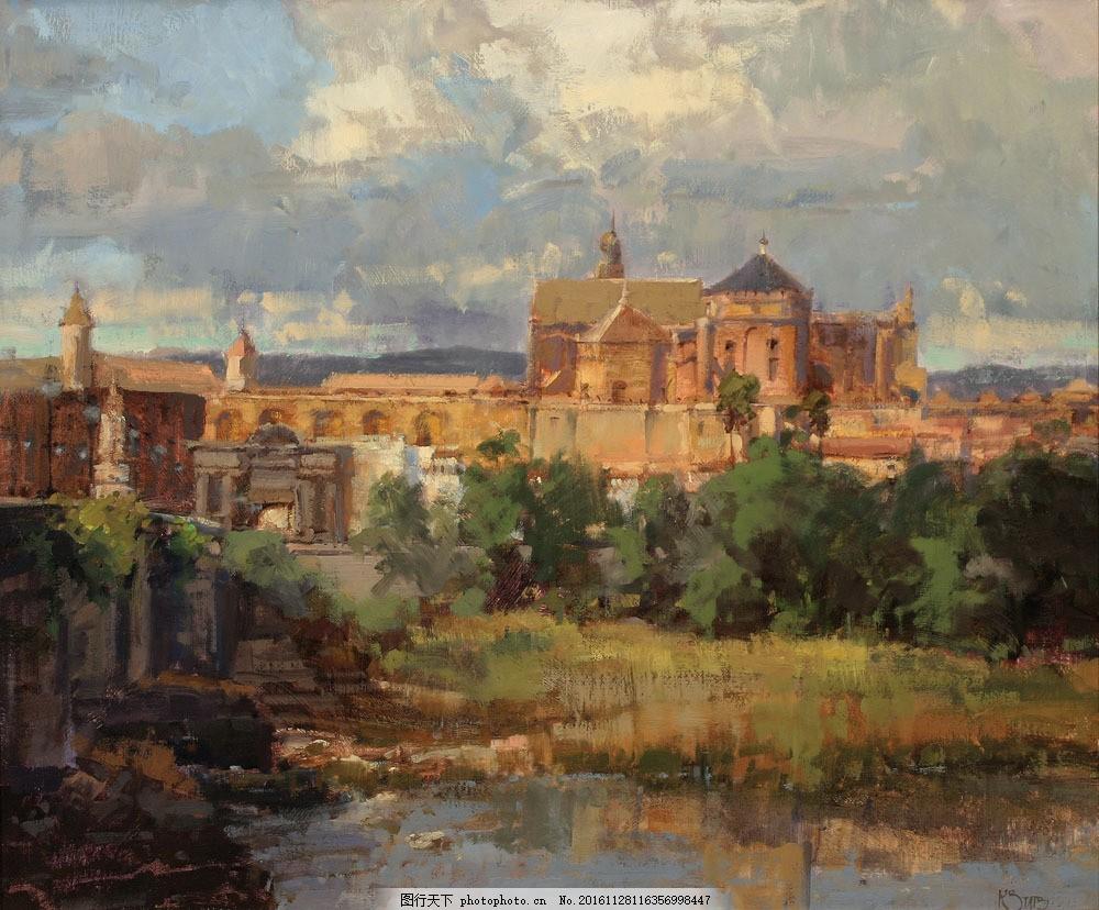 古欧州城堡和河水油画图片素材 古欧州城堡 河水 草地 树木 美丽风景