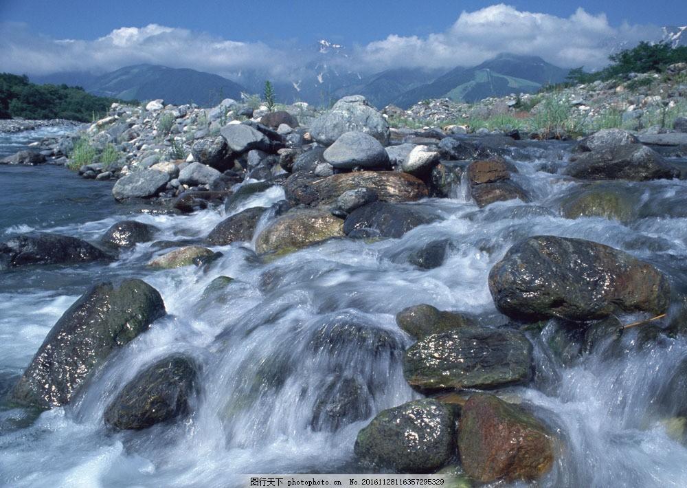 小溪图片素材 四季风景 小溪 溪水 山峰 石头 山水风景 风景图片 图片
