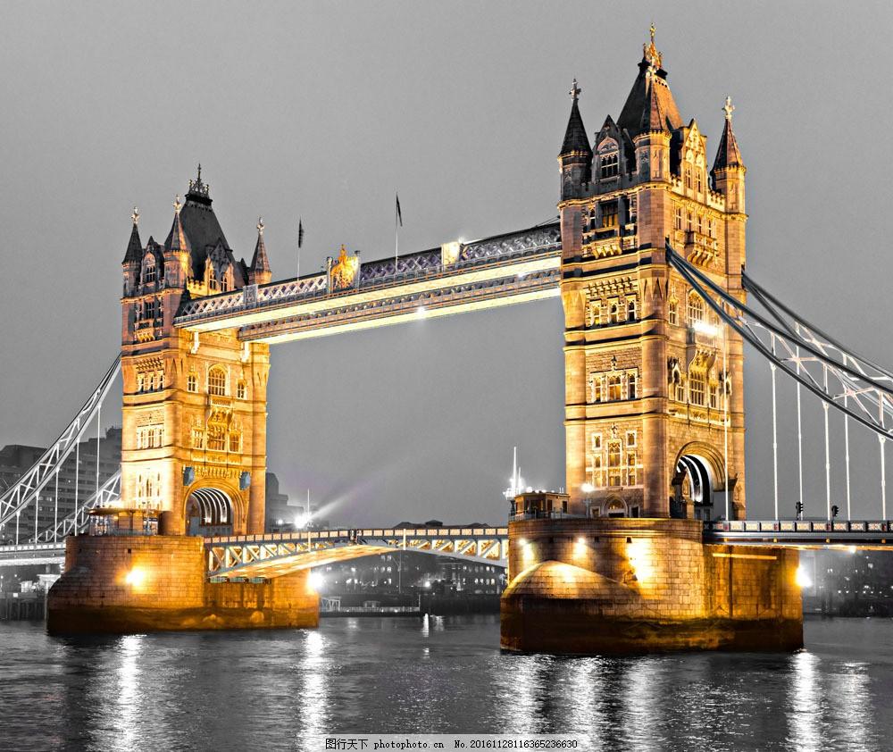 伦敦桥夜景图片素材 伦敦塔桥 伦敦夜景 大桥风景 伦敦风景 城市风景