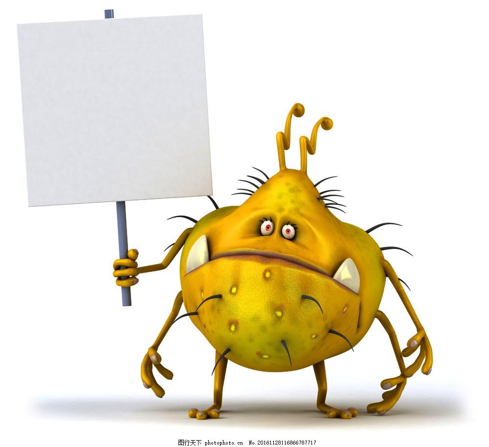 卡通细菌与广告牌 卡通细菌与广告牌图片素材 卡通怪物 卡通动物