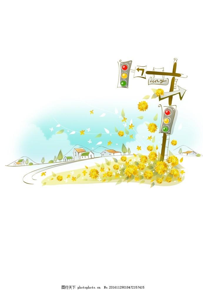 墙画 插图 装饰画 背景底纹 背景墙 卡通风景 韩式可爱卡通 春天矢量