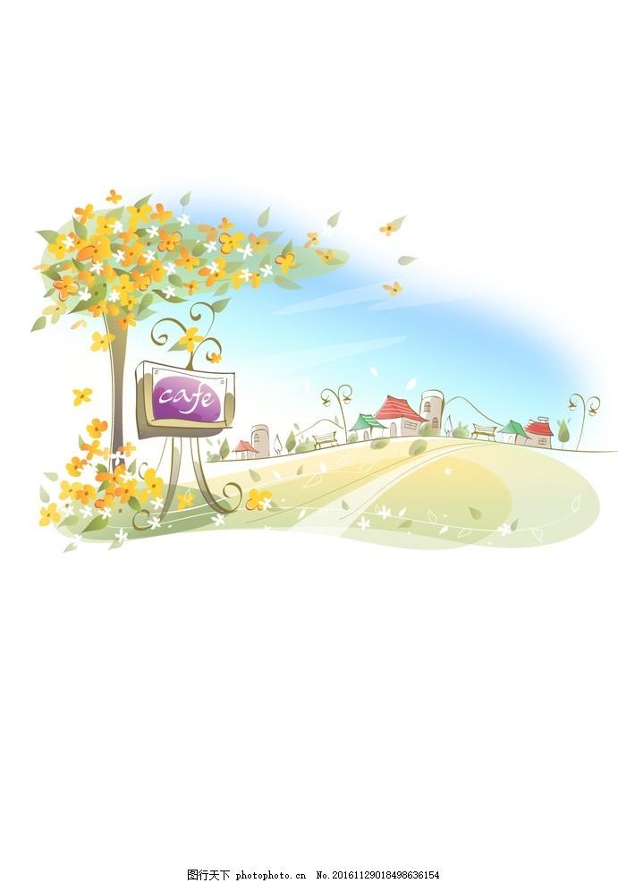 背景底纹 背景墙 卡通风景 韩式可爱卡通 春天矢量图 绿色卡通背景