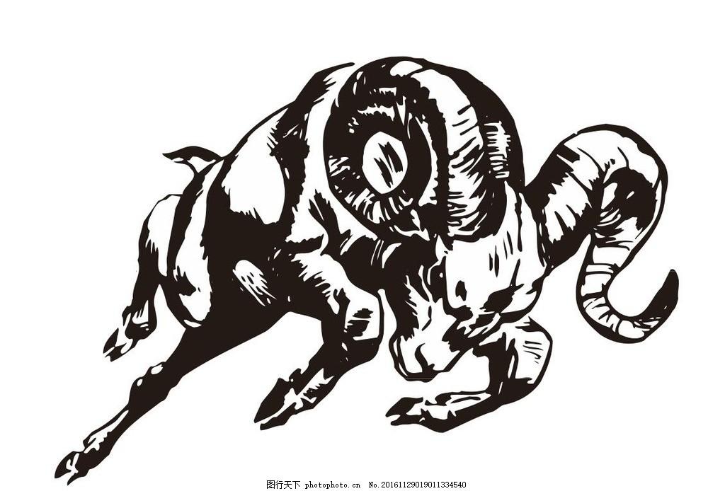 羊,山羊 羚羊 动物 野生动物 插画 装饰画 简笔画-图