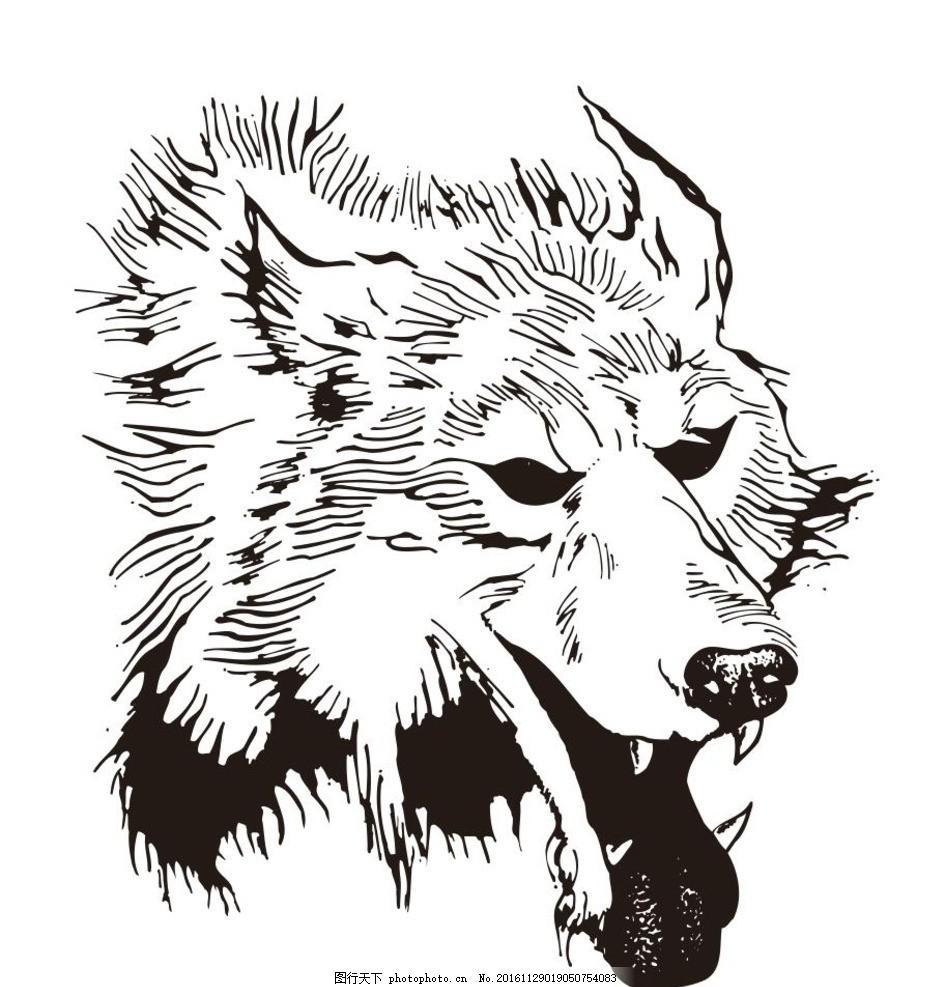 动物 野生动物 插画 装饰画 简笔画 线条 线描 简画 黑白画 卡通 手绘