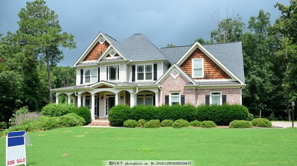 设计图库 自然景观 其他  别墅 草坪 乡村楼房 家庭院子 住房 高清