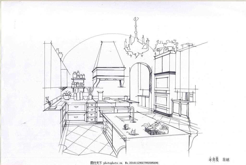 室内设计手绘线稿,客厅 厨房 钢笔画-图行天下图库