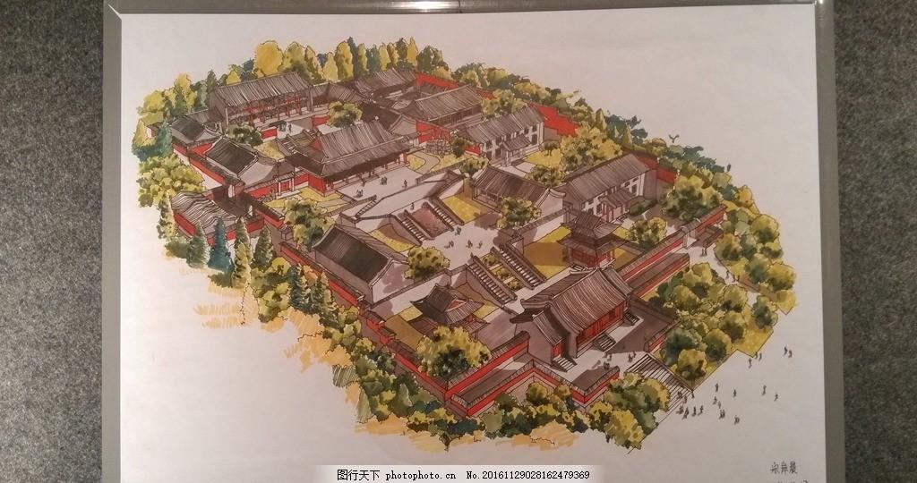 少林寺鸟瞰马克笔手绘效果图 建筑景观 手绘图 鸟瞰图 植物 阴影