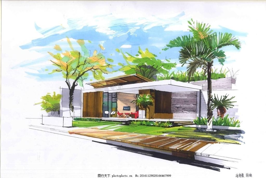 建筑景观 手绘效果图 马克笔效果图 天空 棕榈科 设计 环境设计 景观