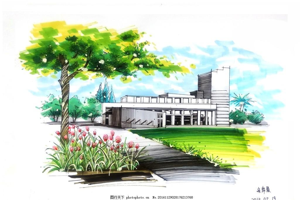 园林景观马克笔手绘效果图 建筑景观 手绘图 植物 阴影 天空