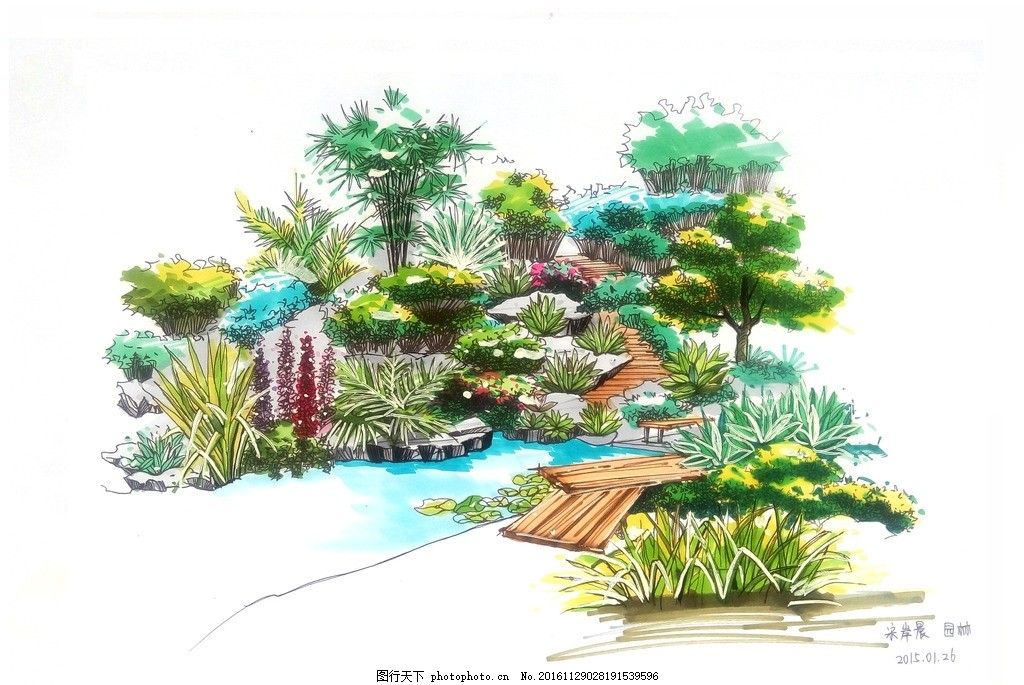 园林景观马克笔手绘效果图 建筑景观 手绘图 植物 阴影 水