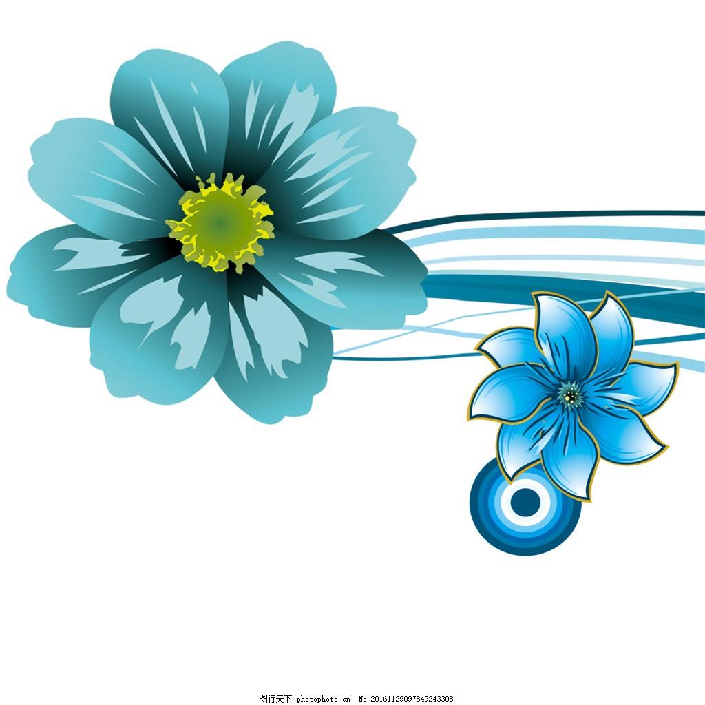 蓝色花朵藤蔓装饰画