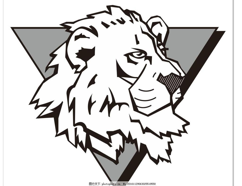 狮子头 雄狮 大狮子 动物 野生动物 插画 装饰画 简笔画 线条 线描 简