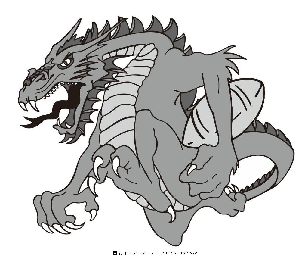恐龙 橄榄球 动物 野生动物 插画 装饰画 简笔画 线条 线描 简画 黑白