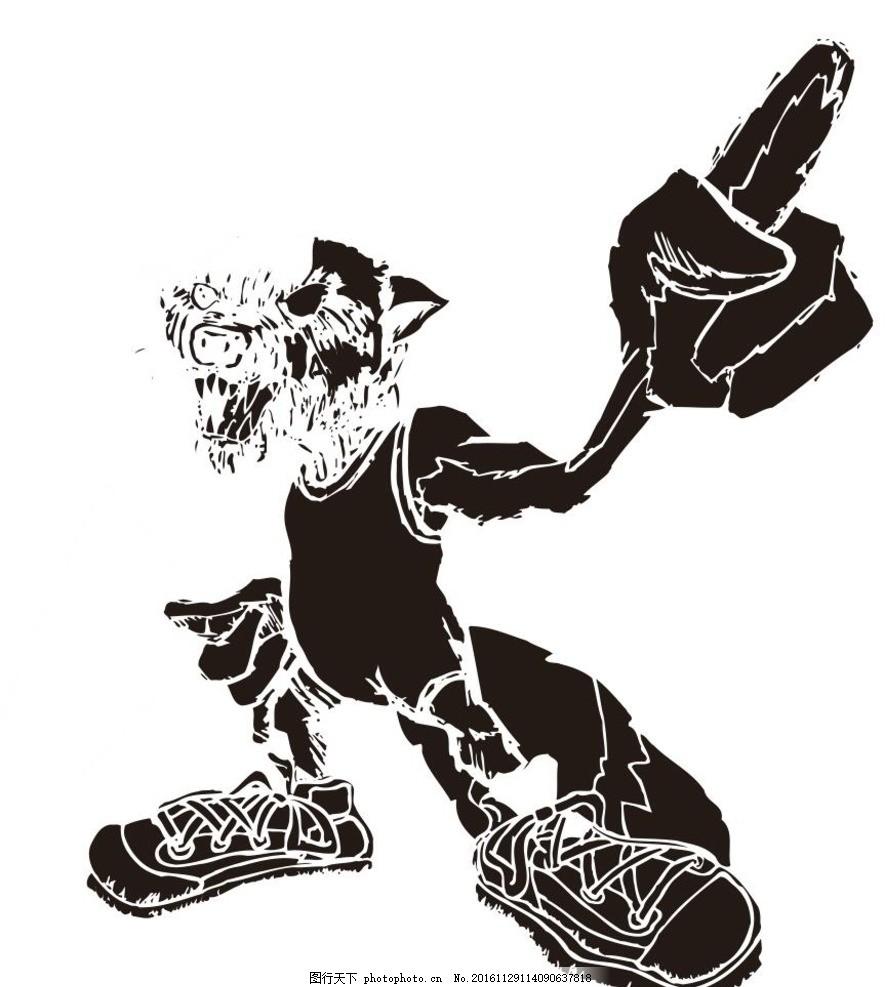 狼卡通 动物 野生动物 插画 装饰画 简笔画 线条 线描 简画 黑白画