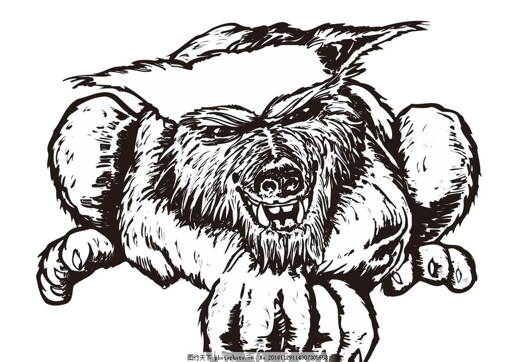 恶狼 饿狼 狼 大灰狼 动物 野生动物 插画 装饰画 简笔画 线条 线描