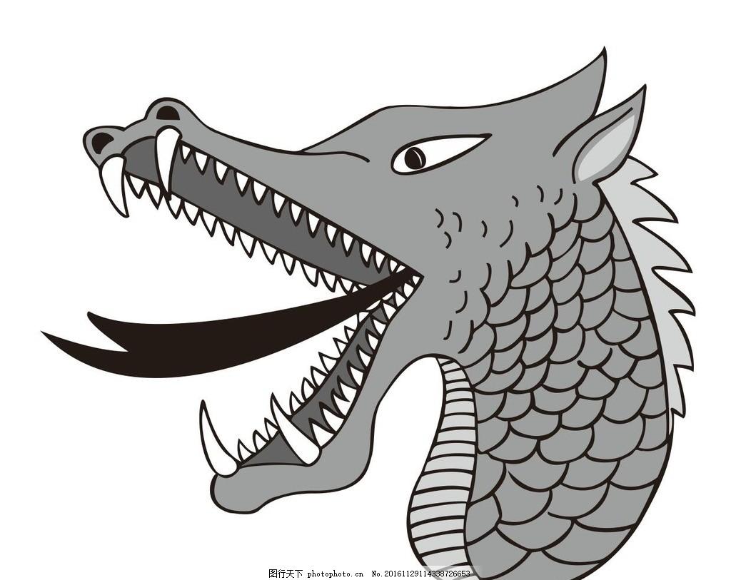 龙 神兽 圣兽 蛇头 动物 野生动物 插画 装饰画 简笔画 线条