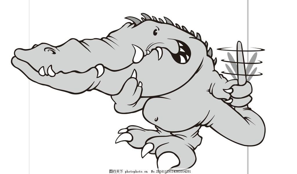 卡通鳄鱼 鳄鱼 动物 野生动物 插画 装饰画 简笔画 线条 线描 简画