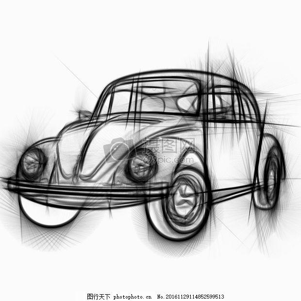 大众汽车铅笔素描