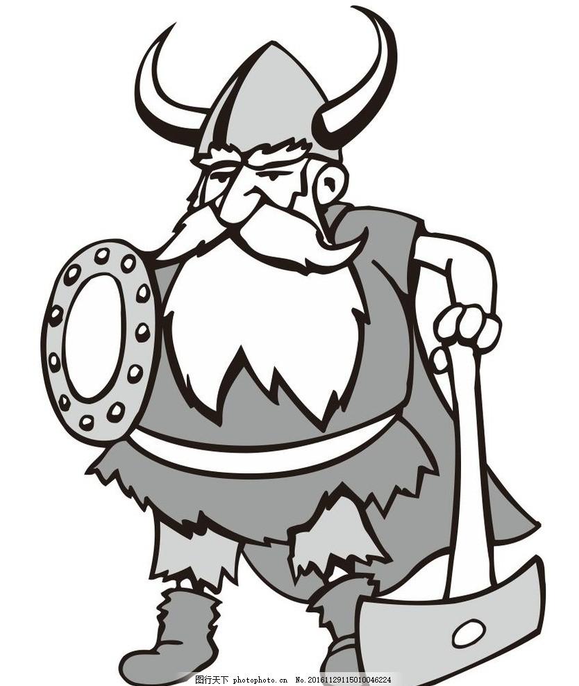 矮人 小矮人 动物 野生动物 插画 装饰画 简笔画 线条 线描 简画 黑白